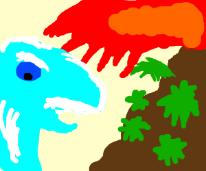 A water beast fights a leafy volcano