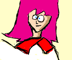 Pink haired cross eyed girl