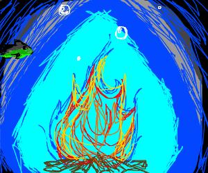 A campfire under the sea