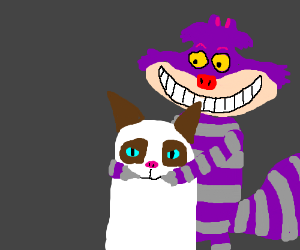 Cheshire cat tries to get grumpy cat to smile