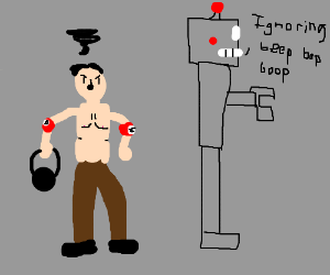 Hitler w/tiny kettlebell, ignored by robot.