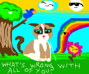 grumpy cat in a happy colorful world