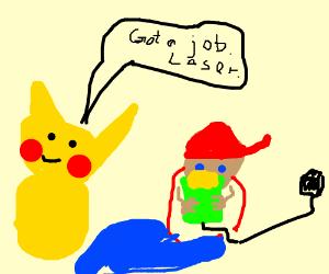 Pikachu tells ash to get a job