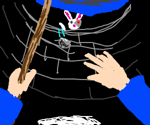 cyborg bunny throws rock at wizard in well