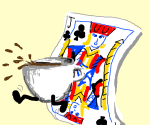 Cup of coffe jumps through the Jack of Clubs