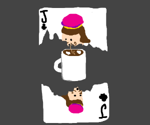 Top half of Jack of Clubs mugs the bottom half