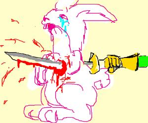 Sad rabbit has been stabbed