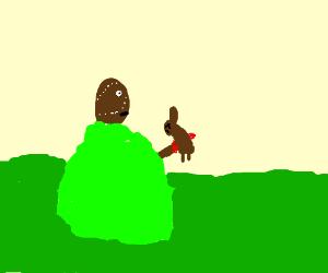 man impales rabbit