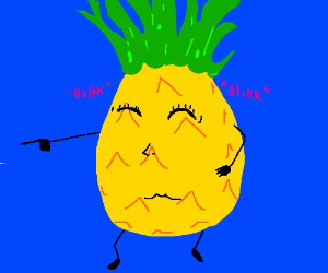 eye blinking pineapple with green hair
