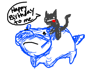 My cat rides a hippo for her birthday