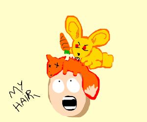 Yellow bunny eats foxy hair of some guy