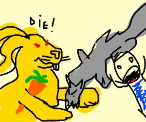Evil yellow rabbit kills fox on man's head