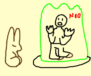 Man trapped in jello can't eat chocolate bunny