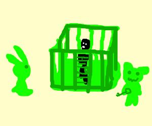 Gummy Rabbit imprisons man in jelly