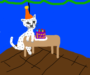 Snow leopard has a very lonely birthday party
