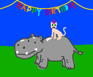 The hairless birthday cat rides atop a hippo.