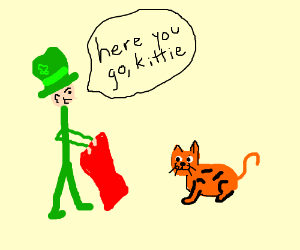 St.Patrick's day man gives red blanket to cat