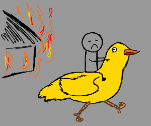 ride on a chicken out of a house fire