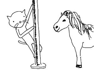 Cat poledances to pony's amusement
