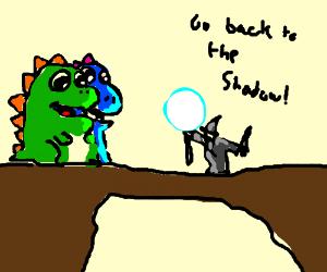Gandalf confronts the Bubble Bobble Dragons
