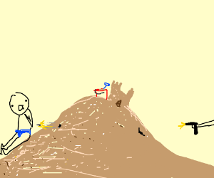 Man getting shot behind a hill of sand