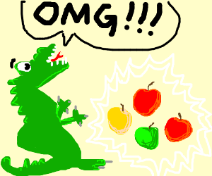 Dragon LUDICROUSLY excited about apples