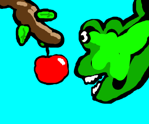Green dragon ecstatic upon discovery of apples