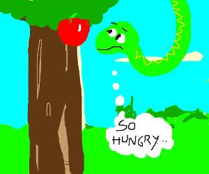 Serpent is tempted to eat the apple itself