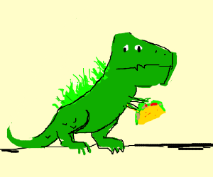A T-rex with grass on his back holding a taco