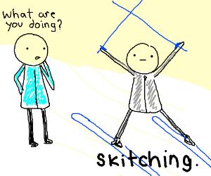 Skitching with ski poles.