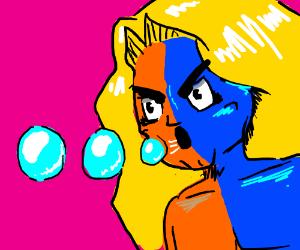 half blue, half orange guy blows bubbles