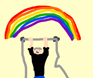 Rainbow forms above Putin as he does pull ups