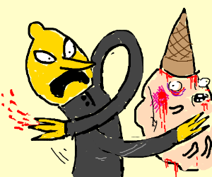 Lemongrab smacks candy person's face.