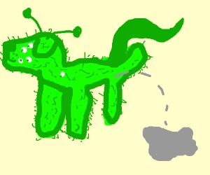 Fuzzy alien dog pees grey liquid.