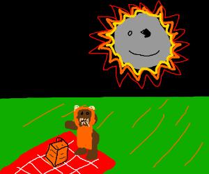 Ewok picnic while happy death star explodes