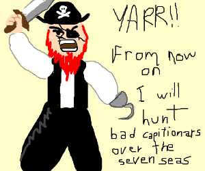 Mad pirate seeking justice for bad description