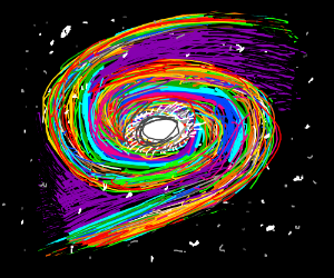 A galaxy surrounded by rainbow swirls.