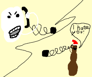 Poo on phone hates angry white creature