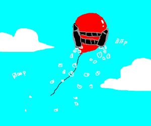 Rocket balloon happily blows bubbles!