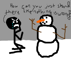 angry man crys at snowman