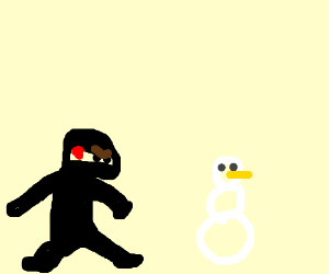 Ninja is disappointed with indifferent snowman