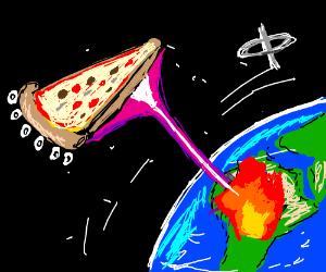 Alien pizza slice ship zaps Africa from orbit.