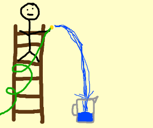 Man fills pitcher of water from atop a ladder