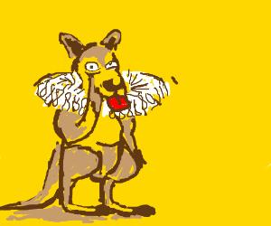 mischievous kangaroo wears a ruff