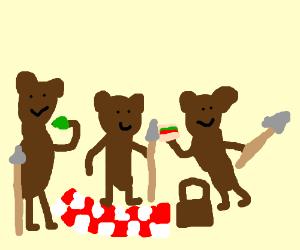 Tribal teddy bears having a picnic.