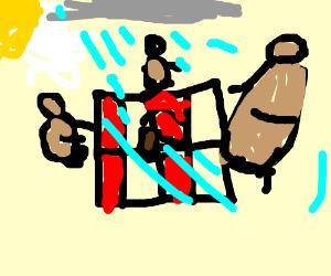 Three hard working bears having a picnic
