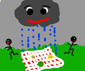The rain ruins a picnic.