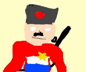 Mustachioed russian soldier w/medals and flag