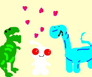Two dinosaurs befriend the Reddit logo