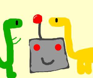Green And Yellow Dinosaurs W/ Happy Robot Face